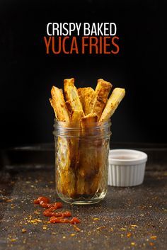 Change up your typical potato side with these Crispy Baked Yuca Fries! They're crispy on the outside, soft on the inside with a kick of spice. Click for the recipe.
