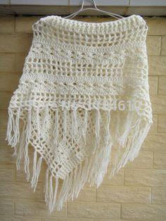Bohemian Fringe Crochet envoltório xale Poncho mulheres Pashmina Fur Designer Handmade malha Multiwearing
