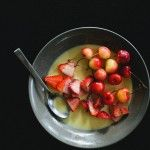 berries with honey creme anglaise