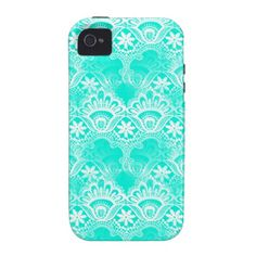 Elegant Vintage Teal Turquoise Lace Damask Pattern Vibe iPhone 4 Covers  #SOLD on #Zazzle