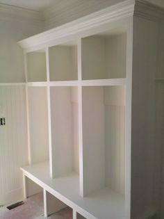 mud room lockers - except painted grey to match garage and look less dirty?