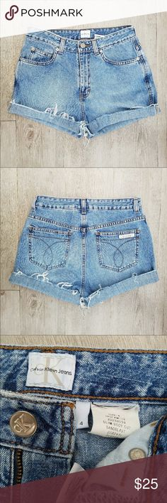Vintage Calvin Klein High Waisted Shorts These jeans say a size 4 but they're more like a size 2! Calvin Klein Shorts Jean Shorts