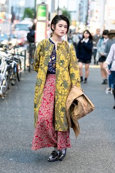 The Best Street Style From Fashion Week Tokyo  yellow and red prints again!