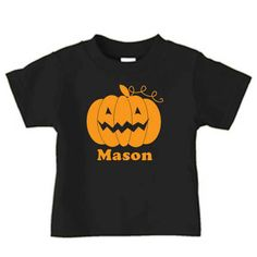 Halloween  pumpkin t shirt for kids personalized by PricelessKids, $16.00
