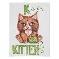 K is for Kitten watercolor illustration poster - baby gifts child new born gift idea diy cyo special unique design