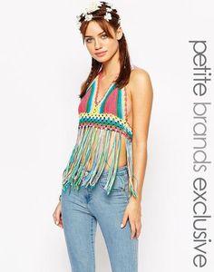 https://www.covet.me/1flepO Glamorous Petite Crochet Halterneck Bralet With Tassels at asos.com #top #women #covetme
