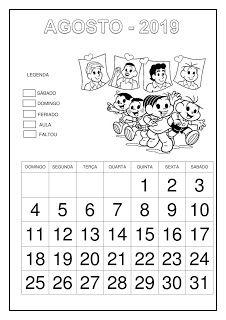 Calendário 2019 - Turma da Mônica Professor, Education, School, Natural, Abc Centers, Calendar For Kids, Cursive, Note Cards, Classroom