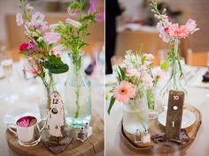 Pretty, rustic floral arrangements and old door plate/locks used for table numbers. Photo by http://miamorefoto.com