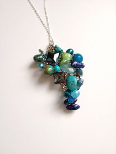 Blue Necklace and a Cascade of Treasures - Blue Pearls and...