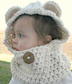 The Kisses Cozy Bear Scoodie  Scarf Cowl by TheKissesBoutique, $25.00