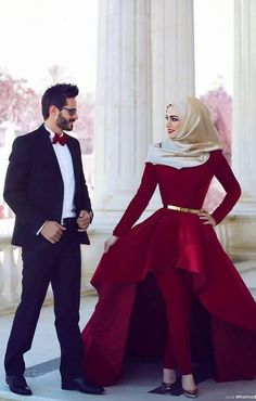110 Cute and Romantic Muslim Couples Muslim Evening Dresses, Evening Dresses With Sleeves, Muslim Dress, Islamic Fashion, Muslim Fashion, Hijab Fashion, Muslimah Wedding Dress, Wedding Dress Men, Wedding Hijab