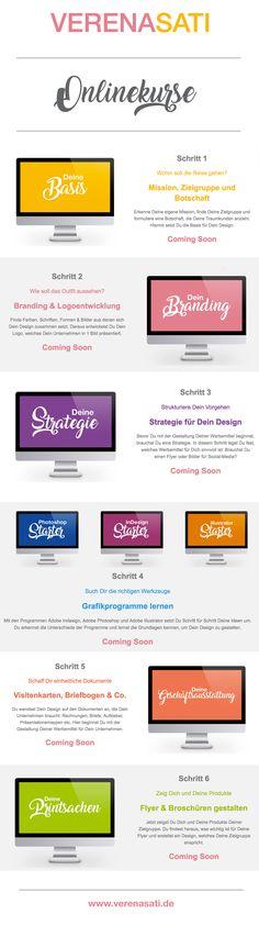Sei Deine eigene Grafikerin - Die Onlinekurse - Ab jetzt findest Du eine Übersicht dazu auf meiner Webseite. 1. Basis - 2. Branding & Logodesign - 3. Strategie - 4. Programme - 5. Geschäftsausstattung - 6. Printsachen