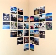 Find your favorite photos and tape them in a heart shape great for a empty wall