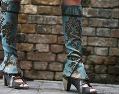 Blue Turquoise Damask Gaiters ... so love it!!!