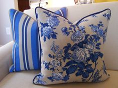 CUSTOM PIPING  Ralph Lauren Outdoor Floral Pillow with Navy