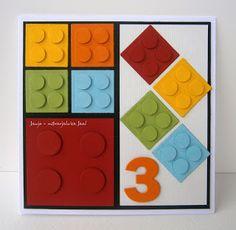 handmade birthday card ... graphic design ... bright lego blocks ...