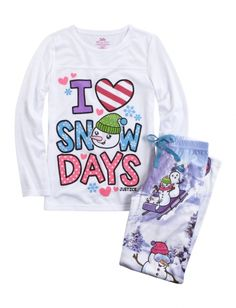 Sledding Snowman Pajama Set | Girls Tops Clothes | Shop Justice