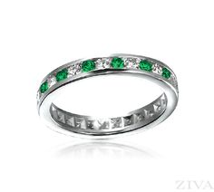 Ziva Emerald & Diamond Eternity Ring in Channel Setting Eternity Ring Diamond, Eternity Bands, Diamond Wedding Bands, Wedding Anniversary Rings, Wedding Rings, Big Engagement Rings, Ideal Cut Diamond, Diamond Sizes, Sapphire Diamond