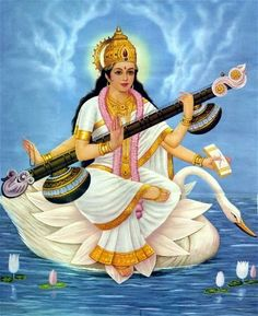 """May Goddess Saraswati, who is fair like the jasmine-colored moon,  and whose pure white garland is like frosty dew drops;  who is adorned in radiant white attire, on whose beautiful arm rests the veena, and whose throne is a white lotus; who is surrounded and respected by the Gods, protect me."""