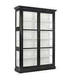 Nordal Zwart houten vitrinekast