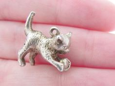 Vintage Sterling Silver Cat With a Ball Charm / Pendant