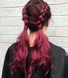 Balayage Hair And Highlights 40 Awesome Balayage Red Hair Inspiration Dye My Hair, New Hair, Tip Dyed Hair, Plum Hair, Red Pink Hair, Cherry Red Hair, Pretty Hair Color, Hair Dye Colors, Aesthetic Hair