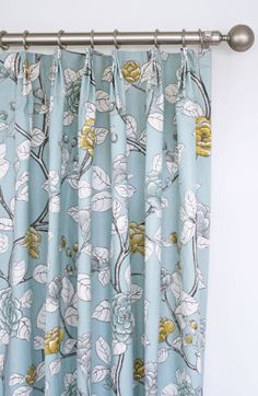 Soft Blue Floral Drapes With Charcoal Grey Yellow And White Custom Drapery By