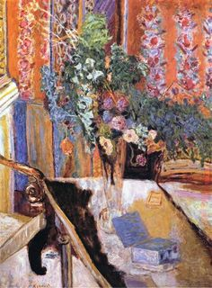 Interior with Flowers, 1919 by Pierre Bonnard. Post-Impressionism. still life. Private Collection