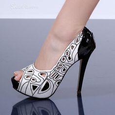 White Hollow Out Peep-toe Stiletto Heels