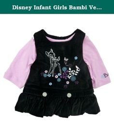"Disney Infant Girls Bambi Velvet Black & Pink Jumper Ruffled Dress Outfit NB. This pretty romper dress includes a black velvet with Bambi print and embroidered rhinestone embellishments with ruffled bottom, and long sleeved pink snap onesie with ""Bambi"" embroidered on the sleeve. Infant girl's sizes 2 Piece set 100% Cotton Brand: Disney ."