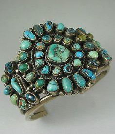Hvy Navajo KIRK SMITH (d.) Satellite Turquoise Cluster Bracelet
