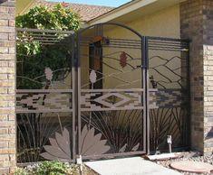 metal entry gates, sun, quail | ZIA SUN GATE WITH YUCCA PANELS