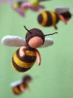 Bienenmobile Waldorf inspiriert gefilzt Schafwolle by