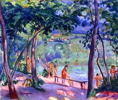 The Beach at Colombier by Henri Manguin