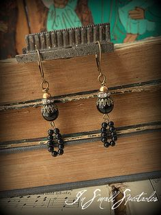 In Small Spectacles Jewelry- Vintage Black Beaded Jasper Earrings Vintage Brass Beads