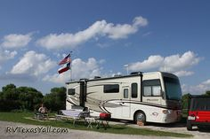 RV friendly campgrounds on the Texas Gulf Coast including Texas State Parks, River Authority Parks and Padre Island National Seashore. Camping In Texas, Camping Spots, Texas Travel, Rv Travel, Rv Camping, Campsite, Galveston Texas, Galveston Island, Best Rv Parks
