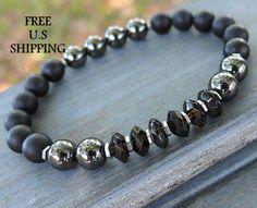 Men's Smoky Quartz, Hematite, Onyx, tribal bracelet, Mala bracelet, tiger eye bracelet, Reiki, quartz bracelet, Onyx bracelet, Hematite