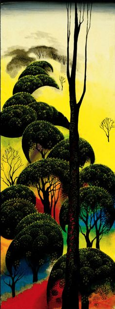 "© 2006 Eyvind Earle Publishing  Title:Climbing Oaks (Estate)     24"" X 9"" To Order  ----  Please Call    831-625-1738 or Email:    info@gallery21.com"