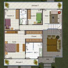 Planta de casa de 2 pavimentos com 4 quartos