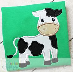 Cow Digital Machine Embroidery Applique Design by Creativeapplique