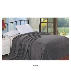 gray plush blanket