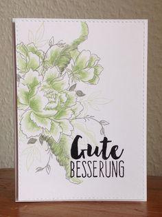 """Die schlichte Karte: Gute Besserung, """"Peony Bouquet """" Altenew """"Gute Besserung"""" Klartext Stempel"""