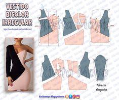 KiVita MoYo : VESTIDO BICOLOR IRREGULAR Skirt Patterns Sewing, Sewing Patterns Free, Clothing Patterns, Remake Clothes, Sewing Clothes, Fashion Sewing, Diy Fashion, Pattern Draping, Jacket Pattern