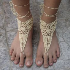 Barefoot Sandals Crochet Pattern | Handmade Beach Bride Crochet Barefoot Sandals, Crochet Sandals Pattern ...