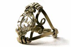 Wire Wrap Ring with Raw Herkimer Diamond stone  by HyppieChic, $55.00