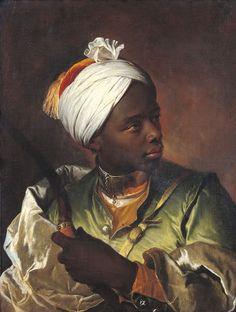Portrait de Jeune Noir avec Arc (portrait of a young African man with a bow) – by Hyacinthe Rigaud – c.1700.