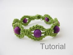 Macrame bracelet instructions pattern pdf tutorial green and purple makrame tutoriel step by step jewelry photo diy how to beginner beads by Knotonlyknots on Etsy https://www.etsy.com/listing/112702472/macrame-bracelet-instructions-pattern