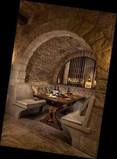Wine cellar and a more expansive tasting room [Design: Eduarda Correa Arquitetura & Interiores] Restaurant Design, Restaurant Seating, Restaurant Interiors, Cabin Interiors, Future House, Home Wine Cellars, Wine Cellar Design, Wood Stone, Stone Bench