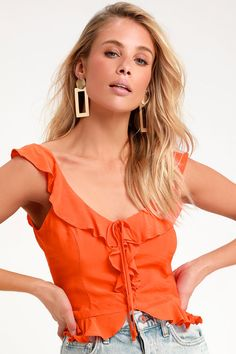 The freshest warm-weather looks start with the Lulus Sitting Pretty Orange Ruffled Top! A cute cropped top with ruffled and covered button details. Look Fashion, Spring Fashion, Womens Fashion, Tops Bonitos, Summer Outfits, Cute Outfits, Two Piece Dress, Ruffle Top, Cute Tops