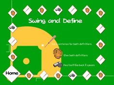 Free! 78 Baseball Multiple Meaning words with games! Swing and define....homerun fun!
